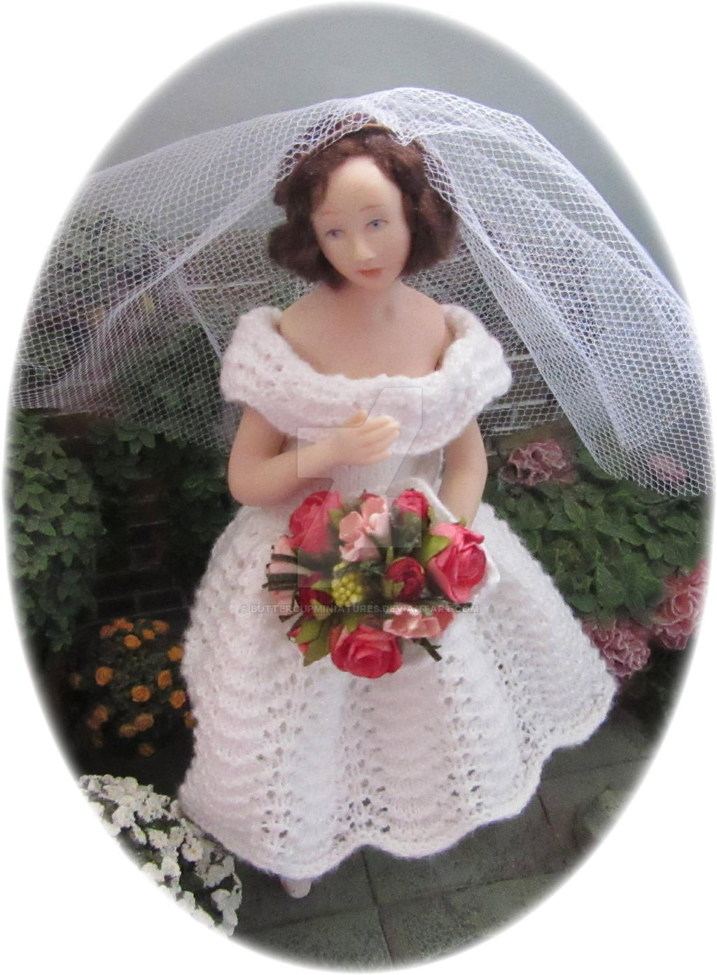 1:12th scale 1950's style knitted wedding dress by buttercupminiatures