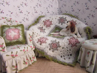 1:12th scale Shabby chic cushion and throw
