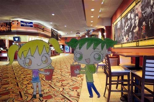 Maruko and Toxic watching a movie by chibimachan