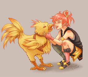 Rein and Chocobo Chick by Tsuchan