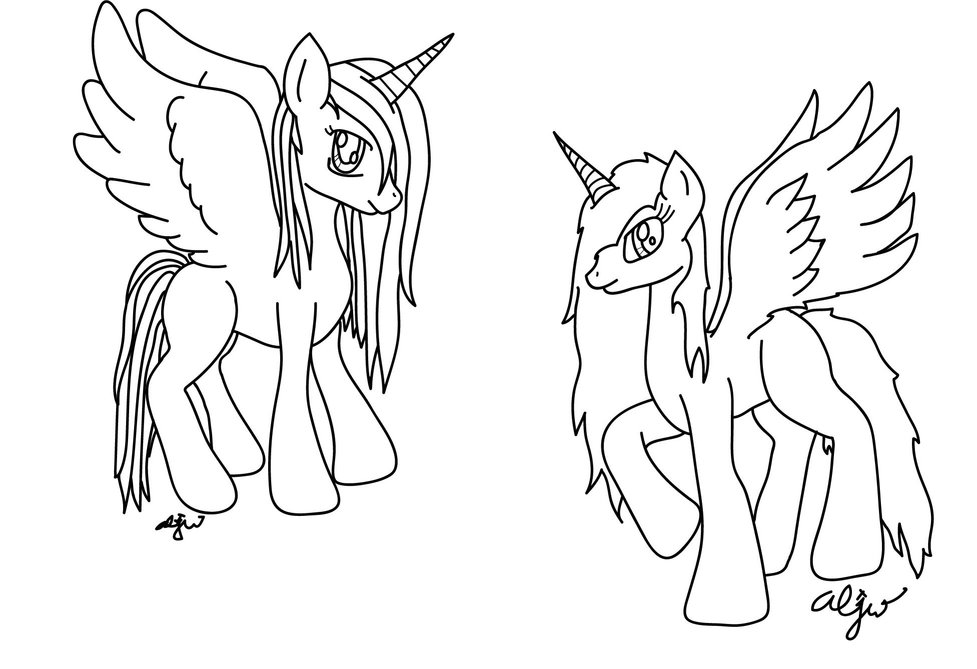 Fire And Ice Alicorns - Lineart by Shylyn-Drawing-Queen on ...