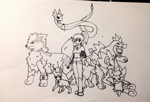 Shylyn and Her Pokemon Team (Lineart)
