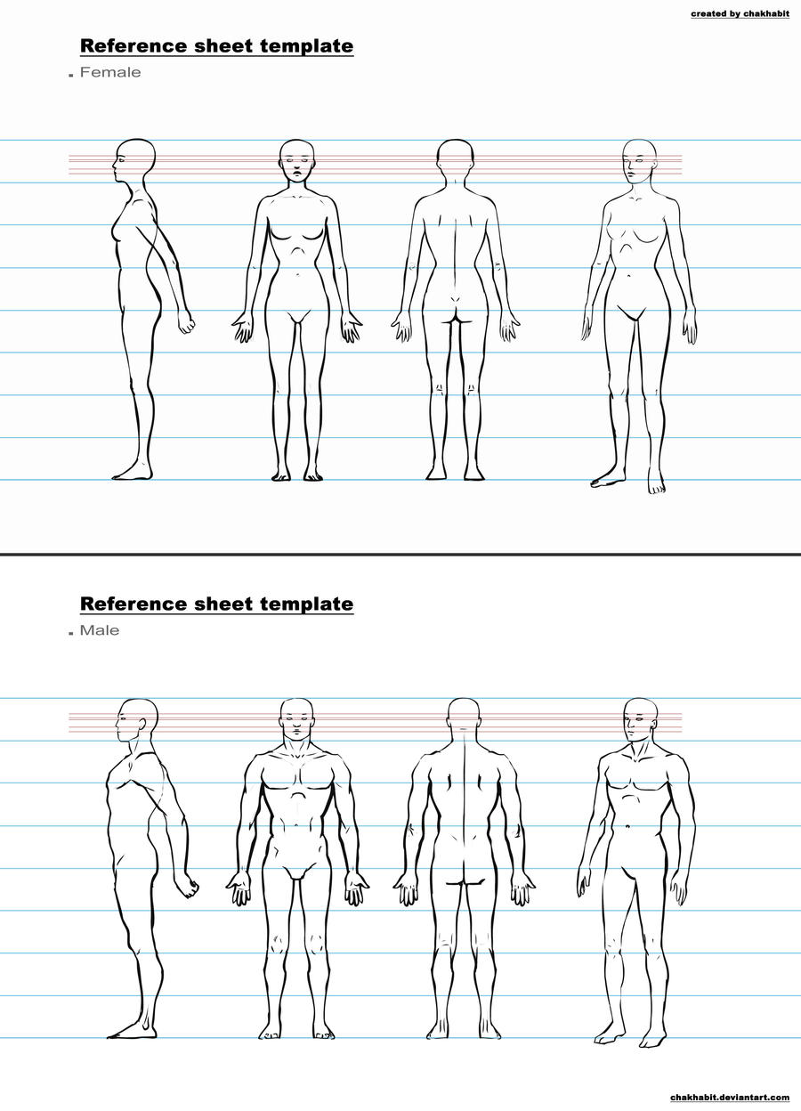 Character Design Outline : Ref sheet template a by chakhabit on deviantart