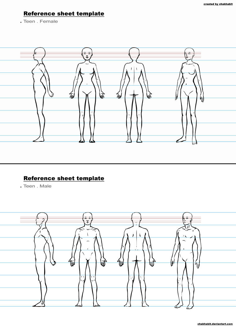 manga character template - ref sheet template b by chakhabit on deviantart