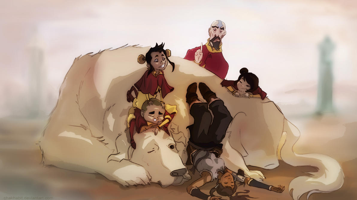 Korra and The Airbenders by chakhabit