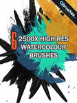 6 High res Watercolour Brushes