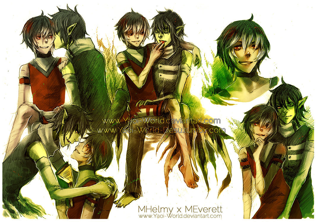 Yaoi SketchSheet Commission: MHelmy x MEverett by Yaoi-World
