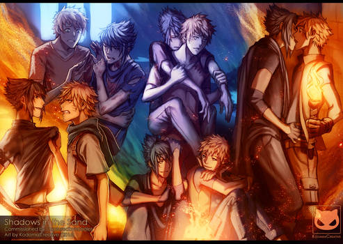 Commission: Shadows in the Sand (SasuNaru)