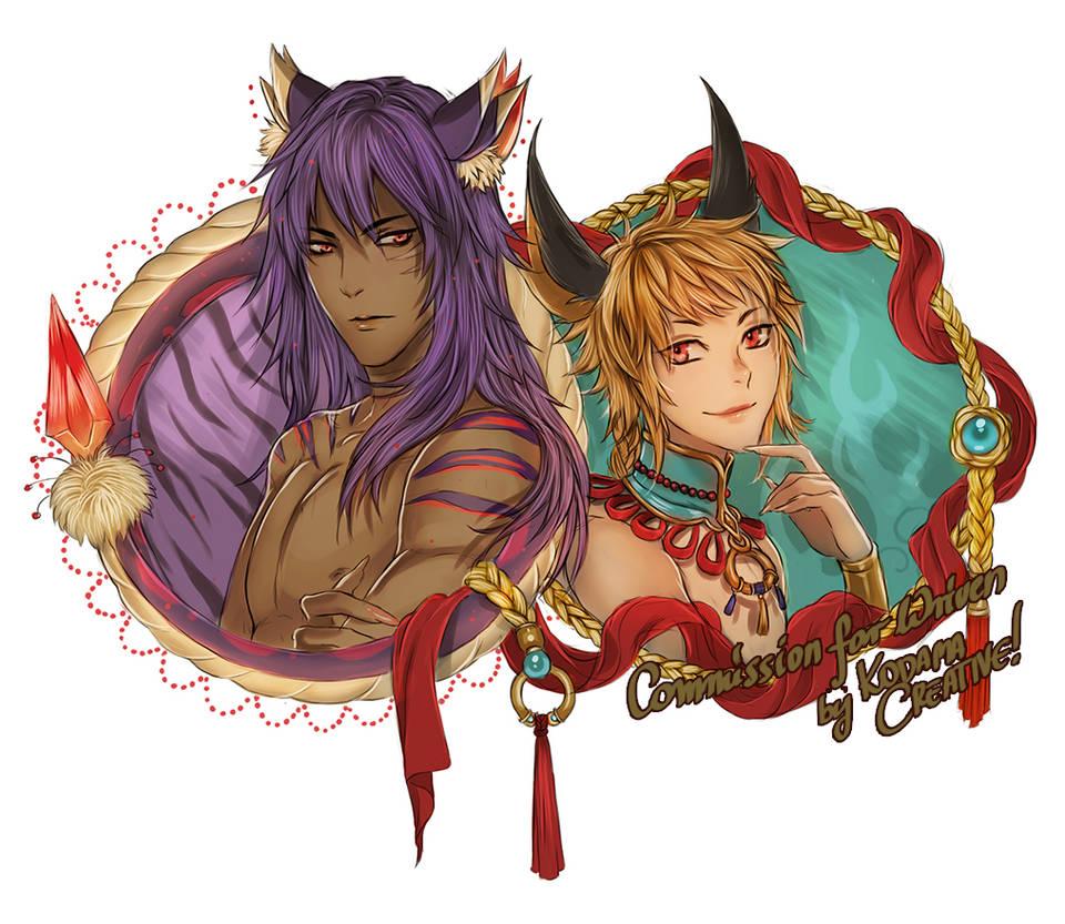 T'cari and Mirza watermark by KodamaCreative by Yaoi-World