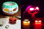 3D-printed Jack O'lantern with LED
