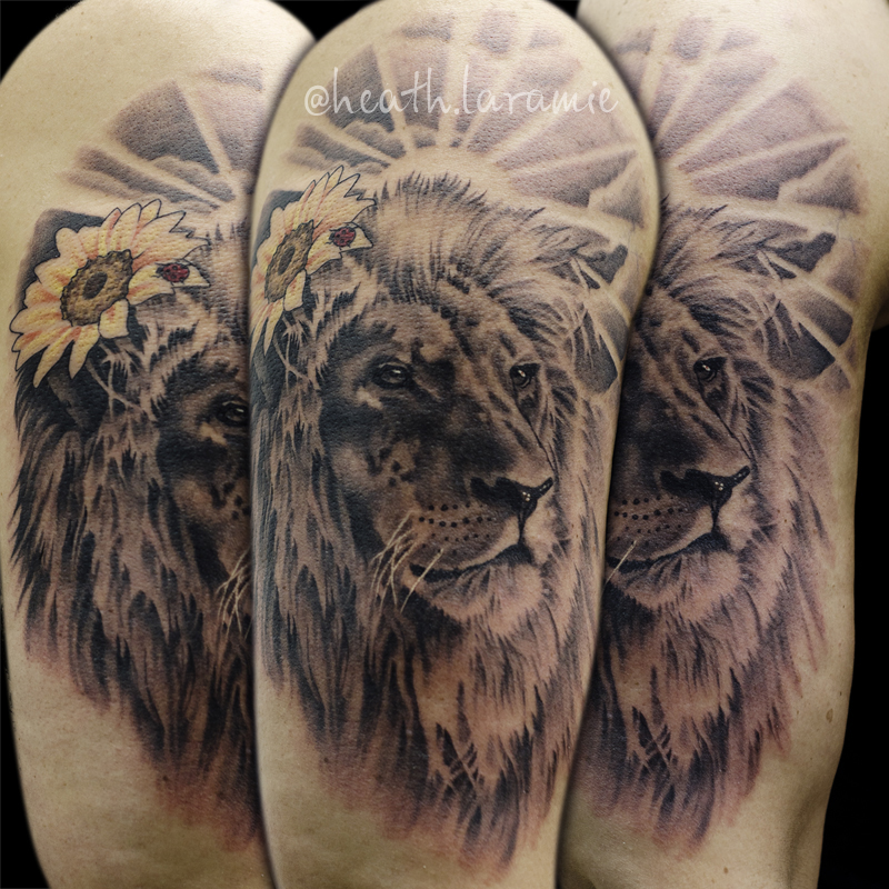 Realistic lion tattoo by againstheindustry on deviantart for Realistic sun tattoo