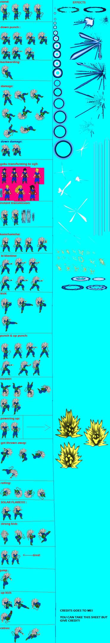 SSJ5 Goku Sprite Sheet by spritezmaster on DeviantArt | 371 x 2146 jpeg 264kB