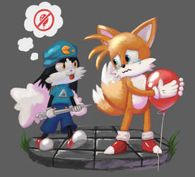 Klonoa and Tails :D by Laughe
