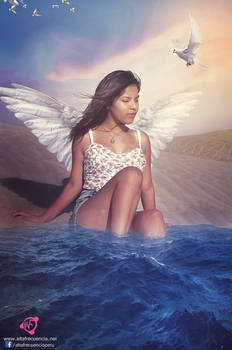 Angel en la playa