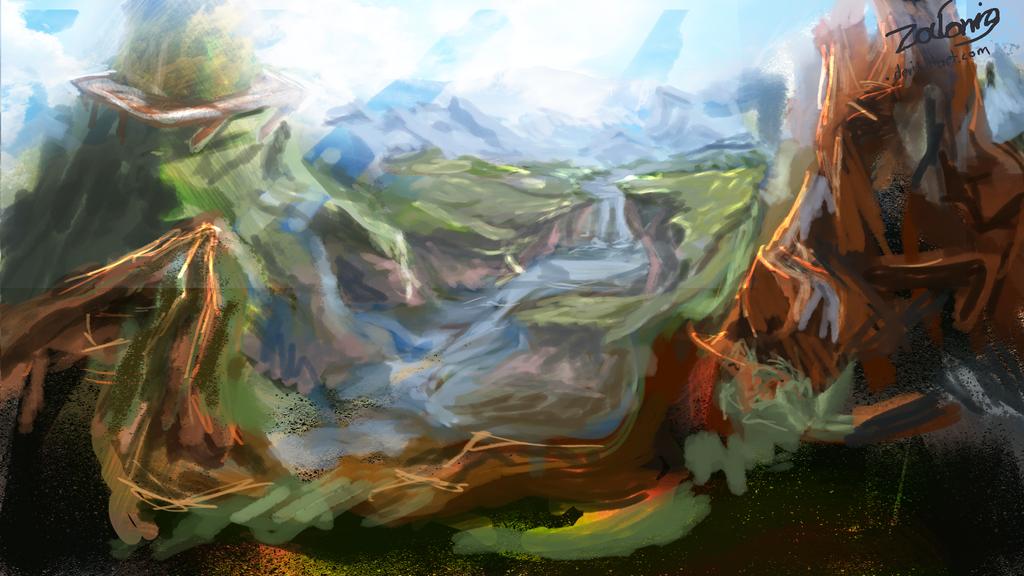 Terra Landscape - Digital Painting by Zalonio