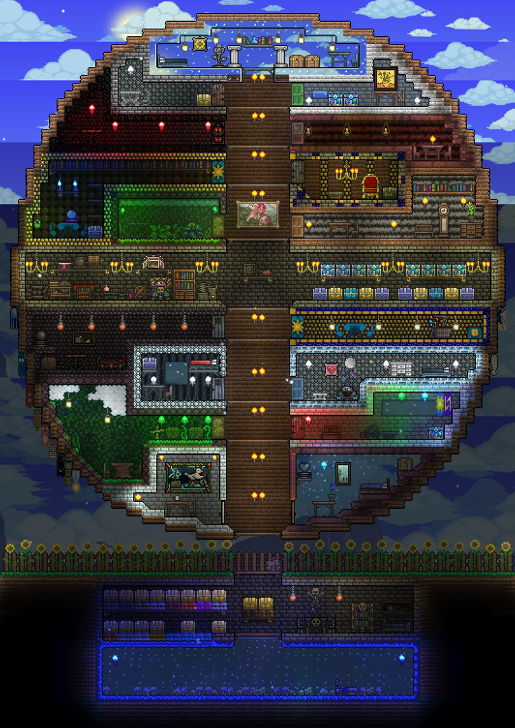 Terraria p1 house by heartage on deviantart for Best house designs terraria