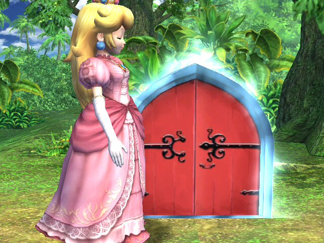 Giant Princess Peach And Small Door