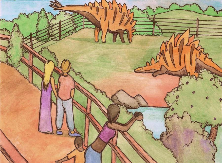stegosaurus enclosure by halfpennyro04