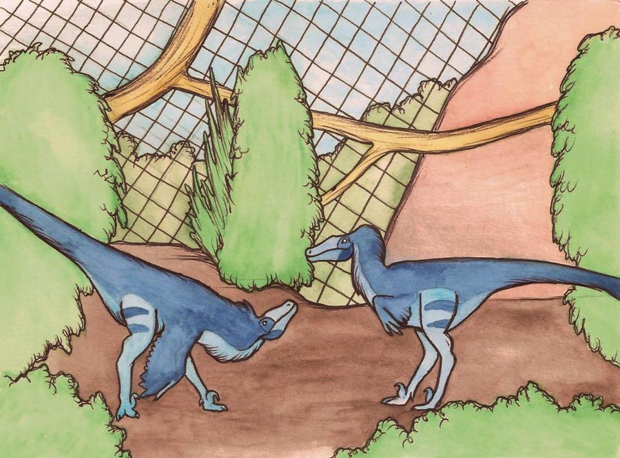 velociraptor enclosure by halfpennyro04
