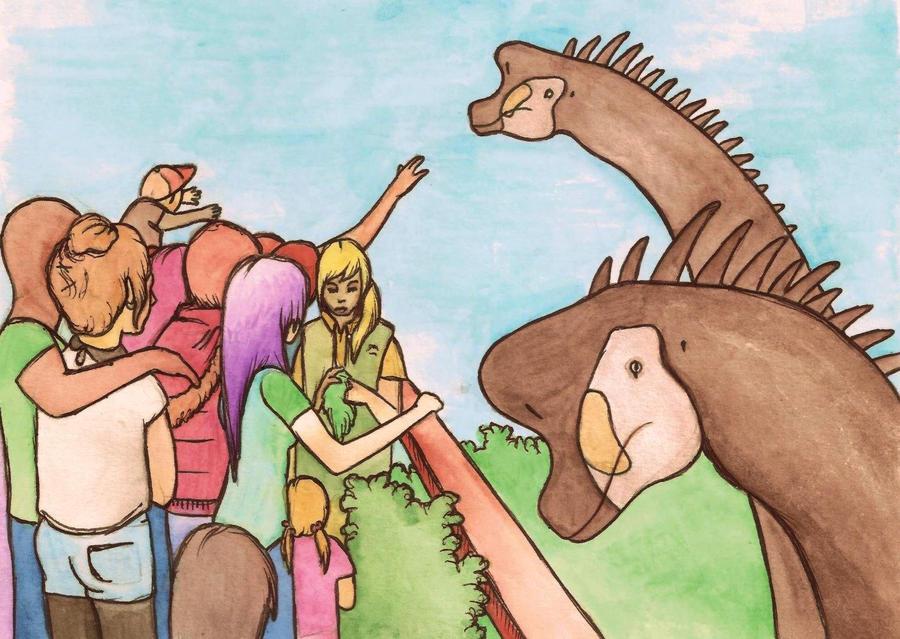 Brachiosaurus feeding by halfpennyro04