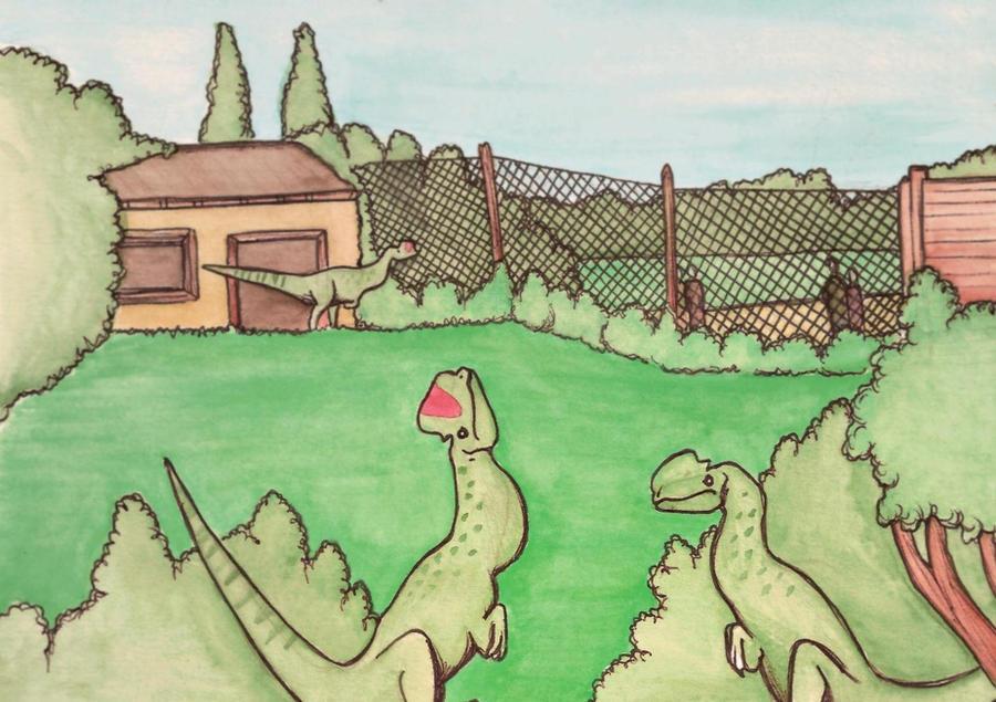 dilophosaurus enclosure by halfpennyro04
