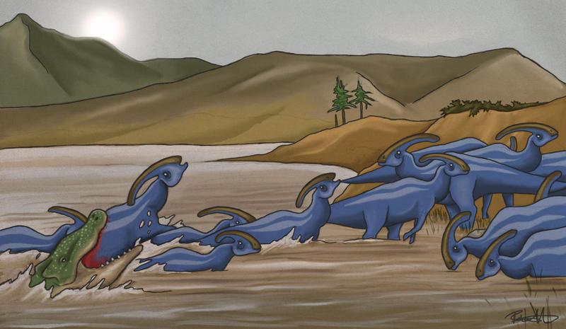 Parasaurolophus ambush by halfpennyro04