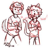 Puppy!Steve and Kitten!Tony by MiraTho