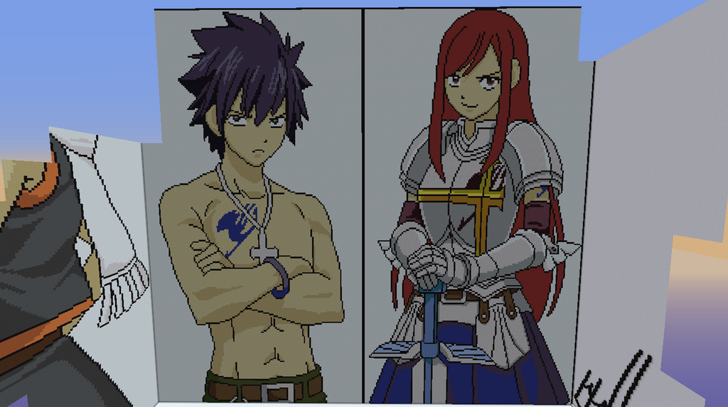 Gray And Erza Minecraft Pixelarts By Oceannoodles On
