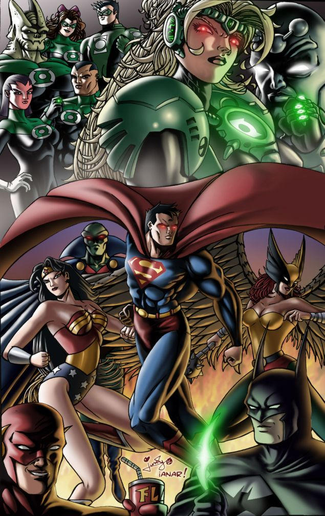 JLA and Green Lantern Corps by iANAR