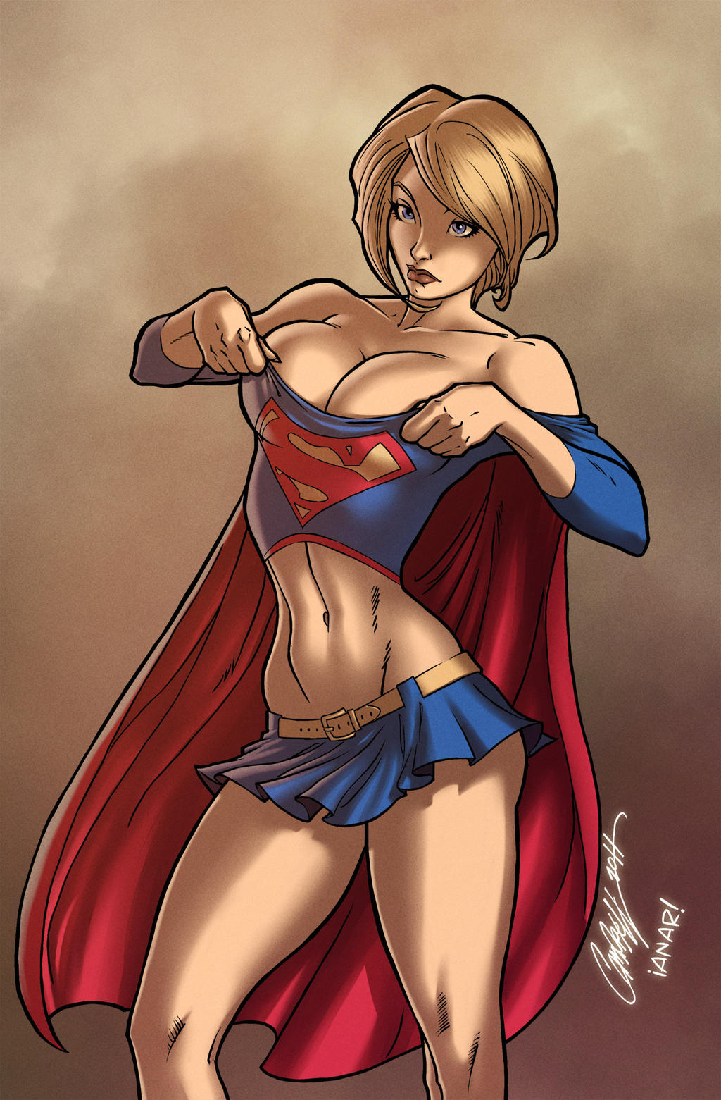 Powergirl wears Supergirl's Uniform by iANAR
