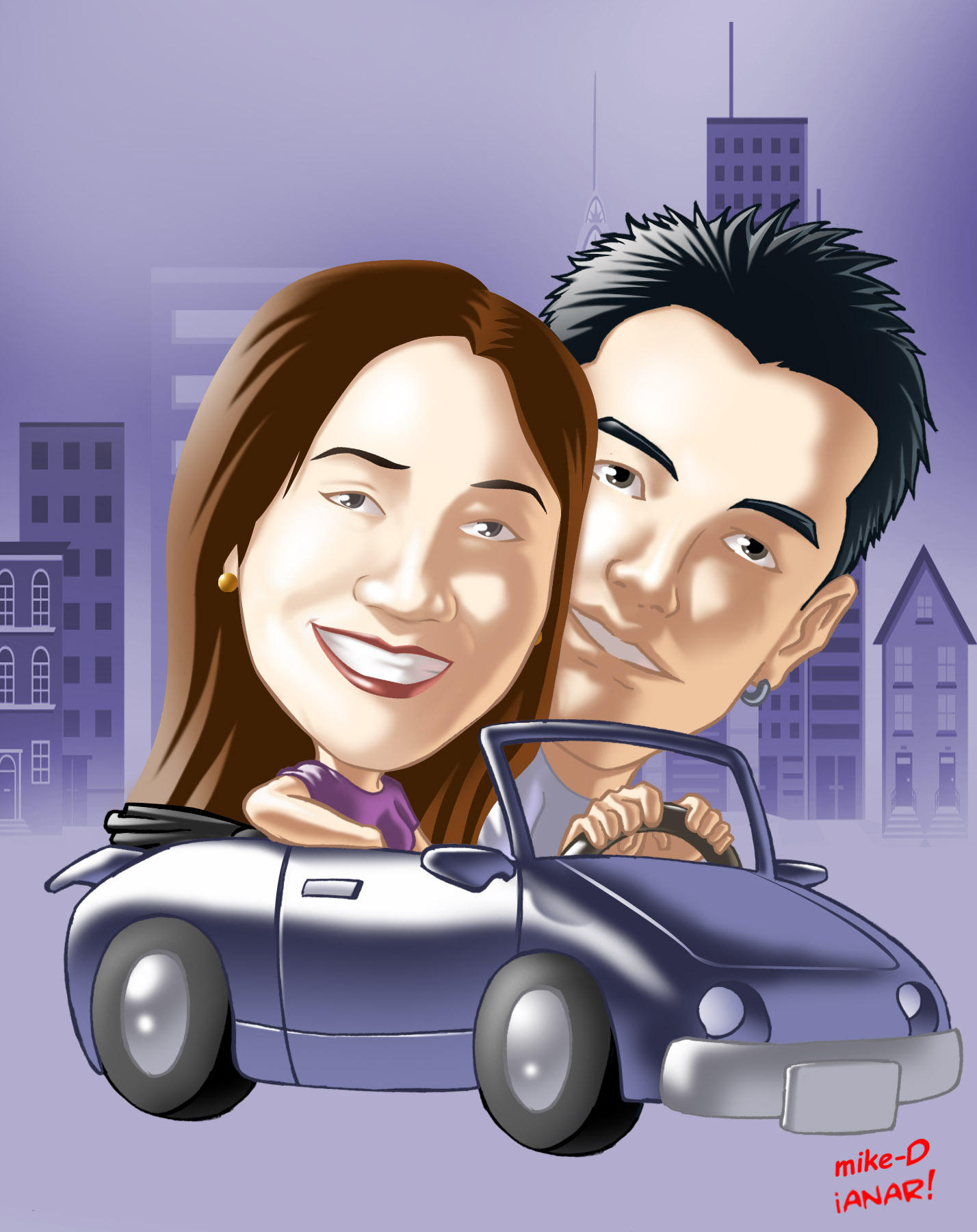 Carla and BF caricature by iANAR
