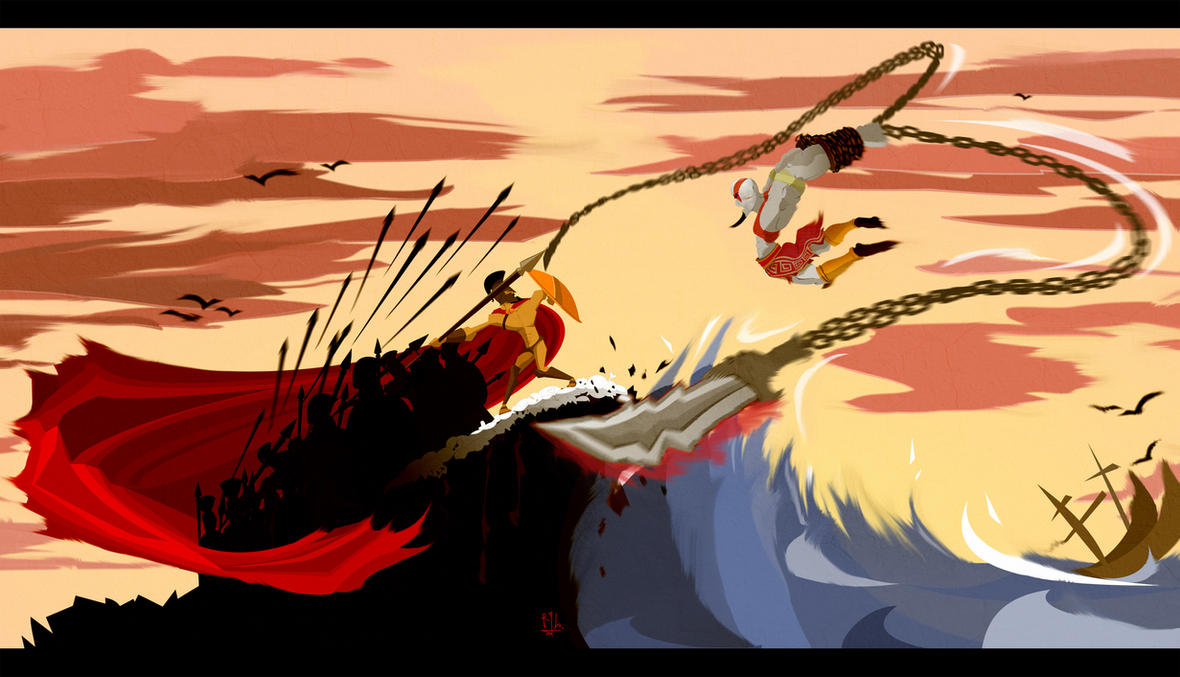 Kratos vs the 300 by RennyLenny