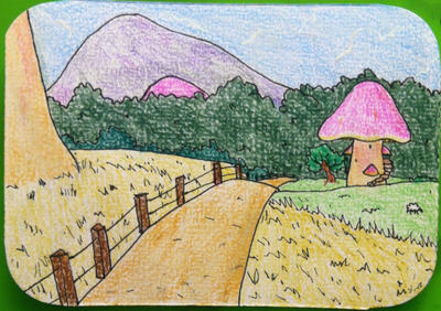 Gnomette's house ACEO by Pongoi