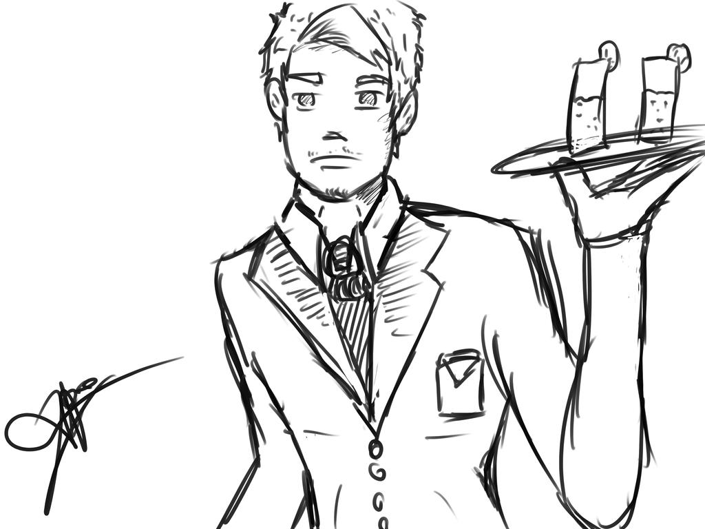 A version of me  like a waiter drew by me xD by 123nukume