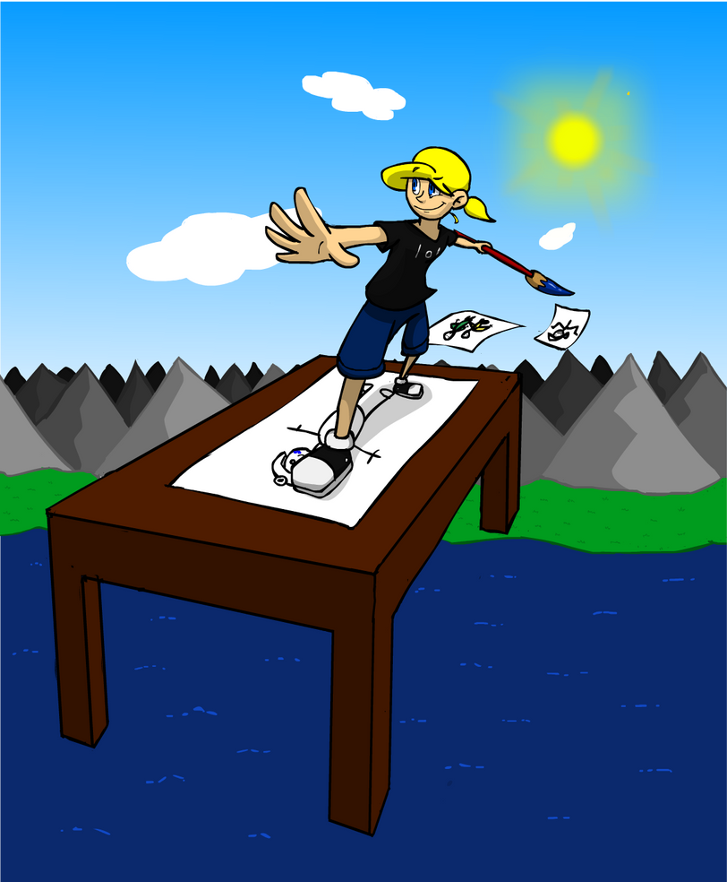 A drawing table in the sky by flygonfan