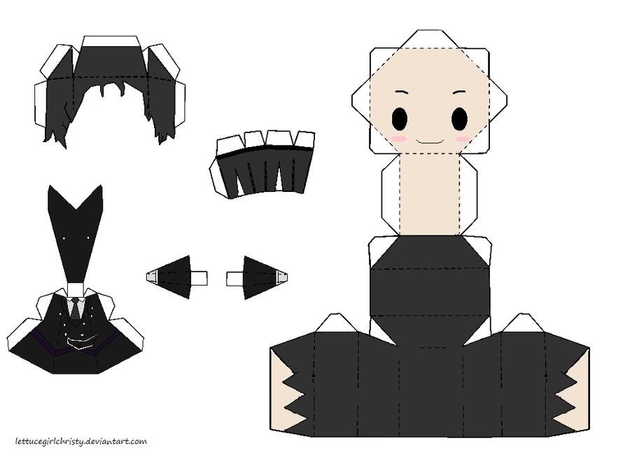 Papercraft Black Butler Sebastian by lettucegirlchristy