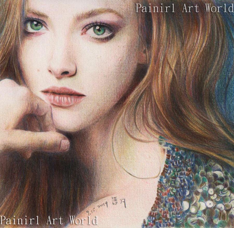 color pencil - Beautiful Amanda by Painirl