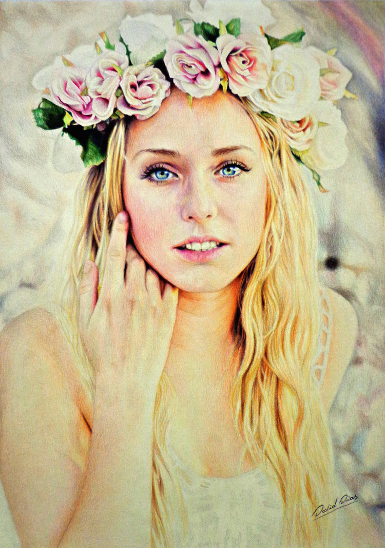 Girl with flower crown drawing - photo#36