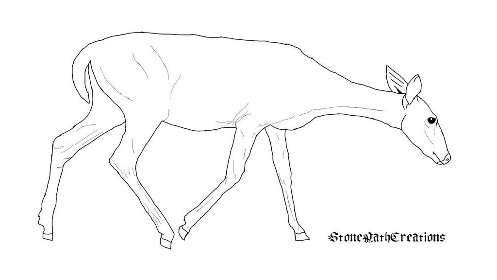 Free Female Deer Lineart  by StonePathCreations