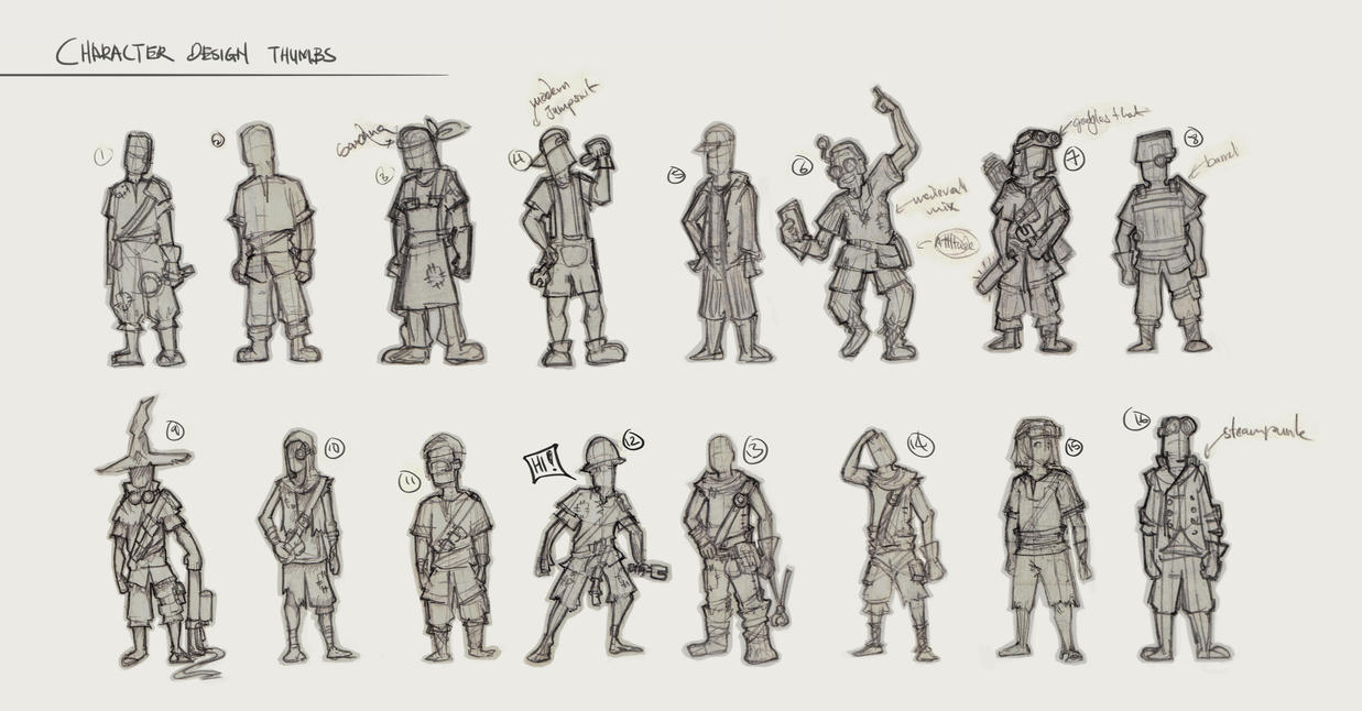Character Design Deviantart : Character design thumbs by sourshade on deviantart