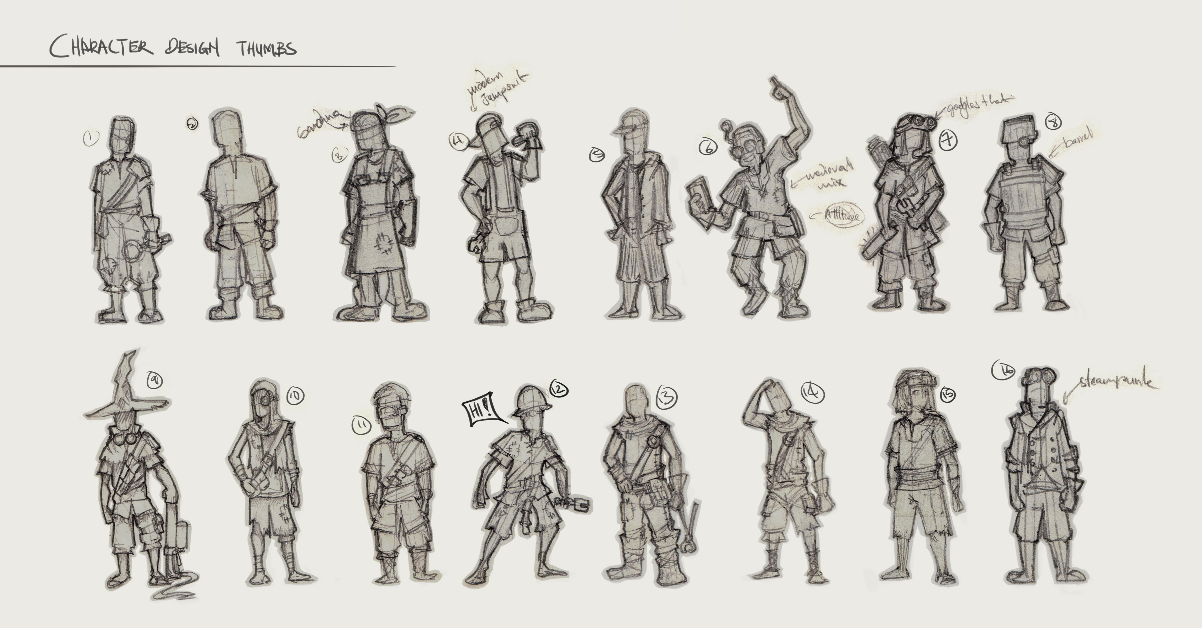 Zillionarts Character Design : Character design thumbs by sourshade on deviantart