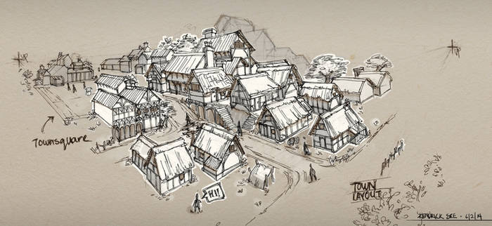 Medieval Town Sketch by SourShade