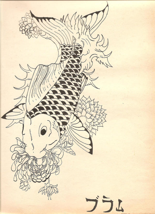 japanese koi fish - flower tattoo