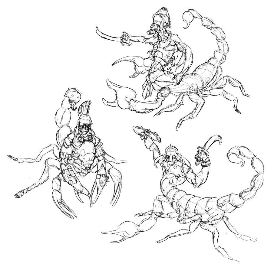 Scorpion Men Roughs by thomastapir on DeviantArt