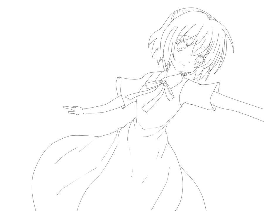 Anime Girl Lineart : Cute anime girl lineart credit me by akashiyamoka on