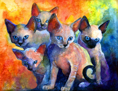 Devon Rex Kittens Painting by SvetlanaNovikova
