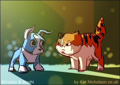 Winston and Mochi warm-up sketch by Kat-Nicholson
