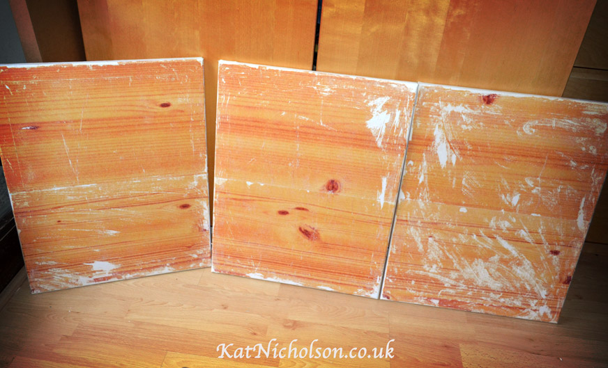 3 vintage wood-effect canvases by Kat-Nicholson