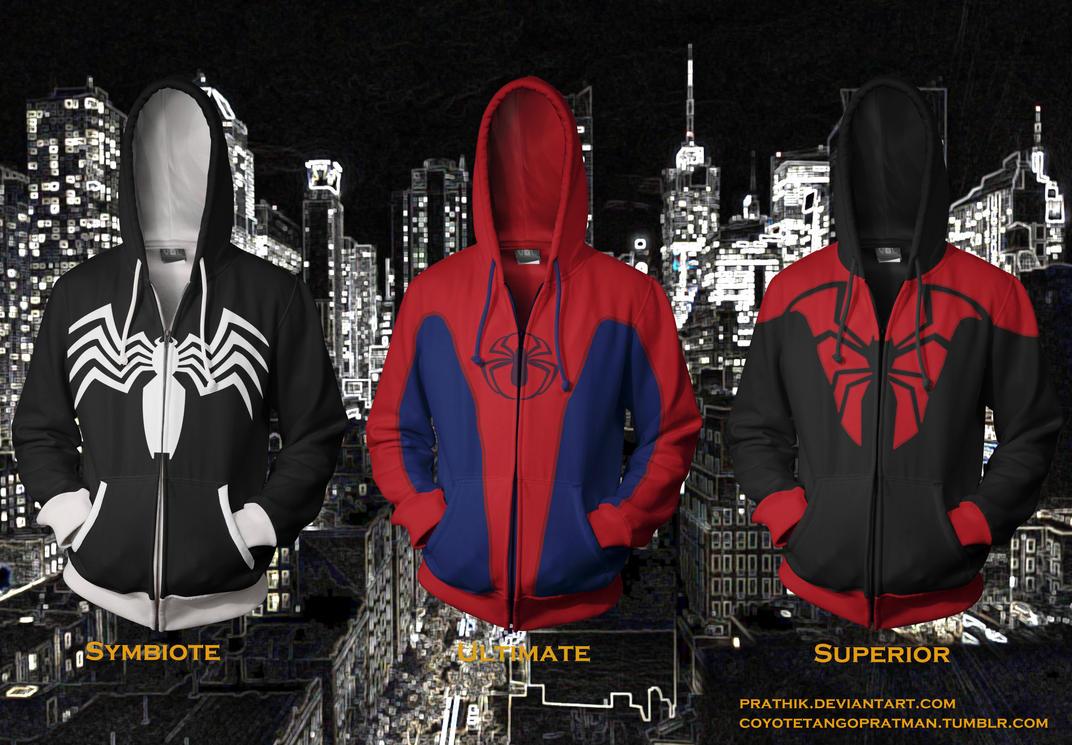 Spiderman Hoodies - Symbiote/Ultimate/Superior by prathik