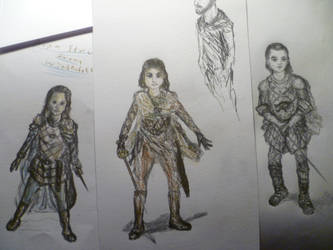 Three drawings of Arya by punkandartStJimmy